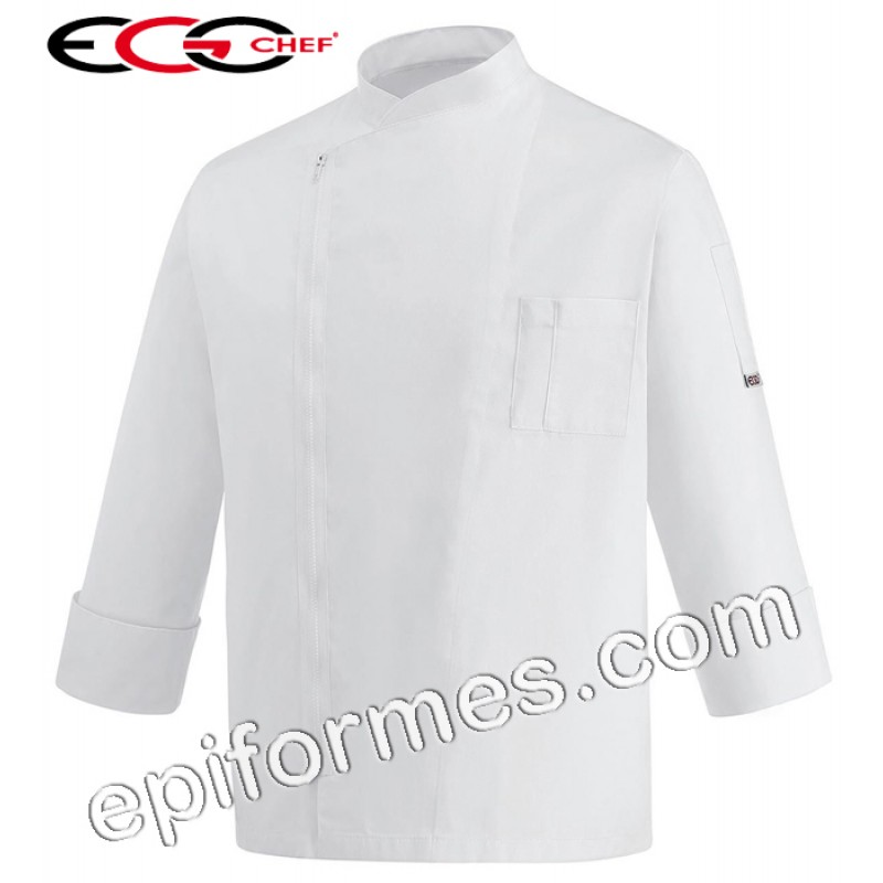Chaqueta cocina cremallera en blanca