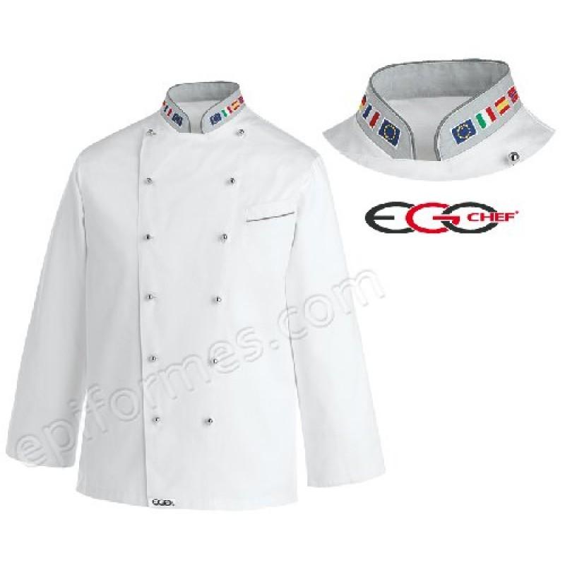 Chaqueta cocina Banderas Bordadas En Cuello