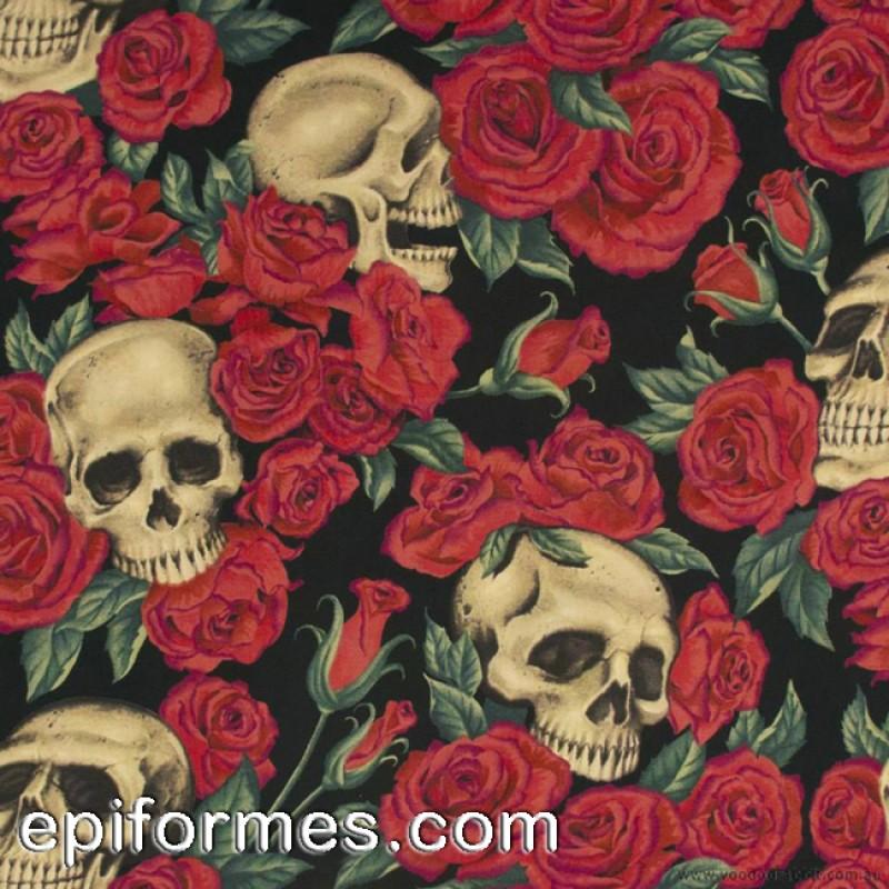 Gorro quirófano calaveras-rosas