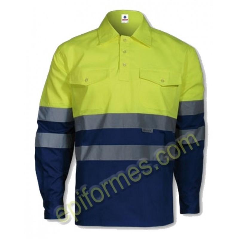 Camisa De Trabajo Bicolor De Alta Visibilidad Mang...