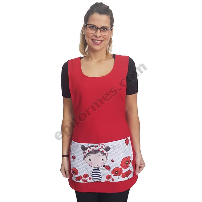 Estola amapola en bolsillo roja