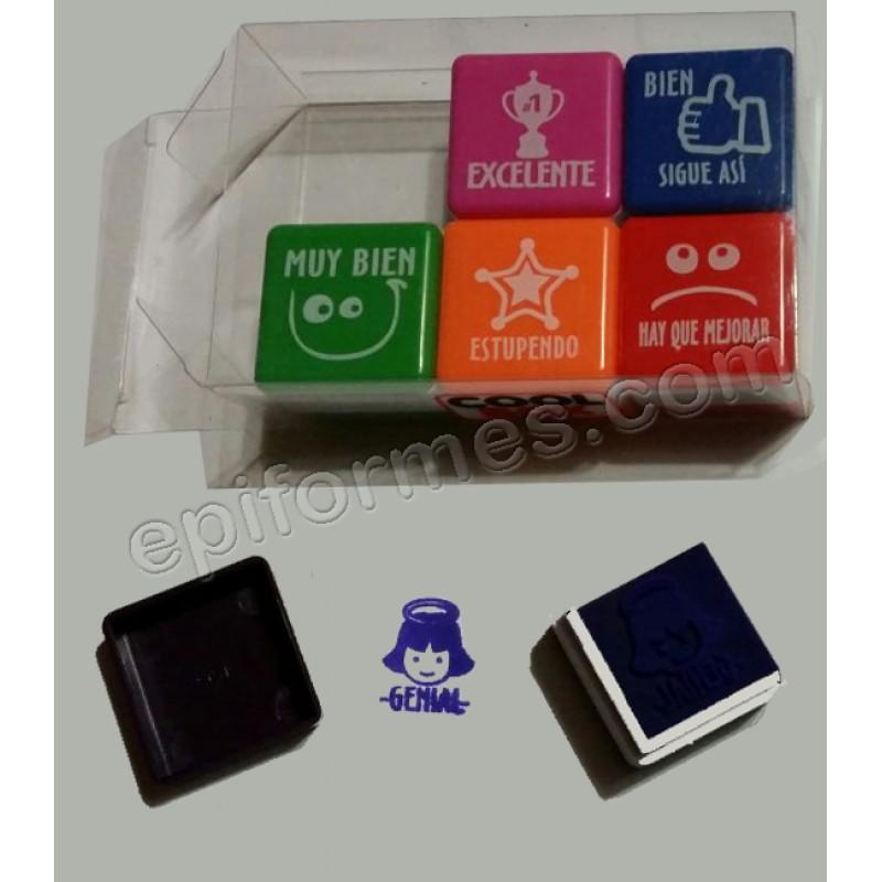 6 sellos caucho,premio o corrector 5 idiomas