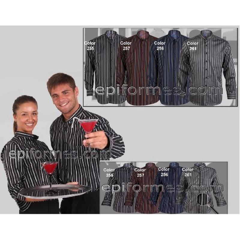 Camisa Cuello Mao Rayas