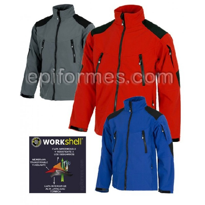 Cazadora Workshell  En 3 Colores Combi.